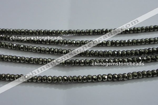 CPY426 15.5 inches 2*3mm faceted rondelle pyrite gemstone beads