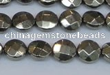 CPY626 15.5 inches 10mm faceted coin pyrite gemstone beads