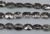 CPY630 15.5 inches 6*8mm faceted oval pyrite gemstone beads