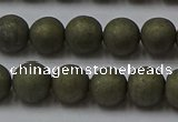 CPY814 15.5 inches 6mm round matte pyrite beads wholesale
