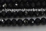 CRB1218 15.5 inches 4*6mm faceted rondelle black tourmaline beads
