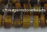 CRB1254 15.5 inches 6*12mm tyre matte yellow tiger eye beads