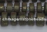 CRB1261 15.5 inches 6*12mm tyre matte pyrite gemstone beads