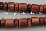 CRB131 15.5 inches 6*12mm & 10*12mm rondelle goldstone beads