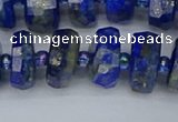 CRB1393 15.5 inches 7*14mm faceted rondelle lapis lazuli beads