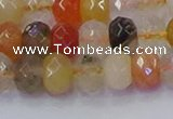 CRB1821 15.5 inches 5*8mm faceted rondelle mixed rutilated quartz beads