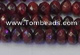 CRB1845 15.5 inches 5*8mm faceted rondelle red tiger eye beads