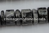CRB204 15.5 inches 6*18mm – 13*18mm rondelle black labradorite beads