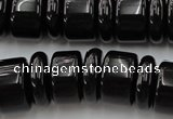 CRB206 15.5 inches 6*18mm – 13*18mm rondelle black agate beads