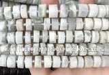 CRB2082 15.5 inches 11mm - 12mm faceted tyre grey moonstone beads