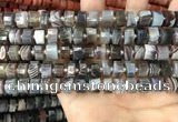 CRB2111 15.5 inches 9mm - 10mm faceted tyre Botswana agate beads