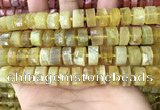 CRB2172 15.5 inches 12mm - 13mm faceted tyre yellow opal beads