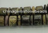 CRB250 15.5 inches 5*12mm - 10*12mm rondelle yellow artistic jasper beads
