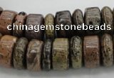 CRB255 15.5 inches 5*16mm - 8*16mm rondelle yellow artistic jasper beads