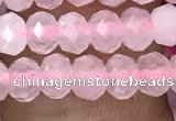 CRB3001 15.5 inches 4*6mm faceted rondelle rose quartz beads