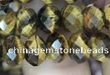 CRB3040 15.5 inches 6*8mm faceted rondelle yellow tiger eye beads