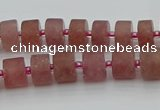 CRB478 15.5 inches 6*10mm tyre strawberry quartz beads wholesale