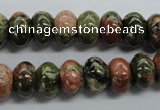 CRB48 15.5 inches 8*12mm rondelle unakite gemstone beads