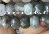CRB5117 15.5 inches 4*6mm faceted rondelle blood jasper beads