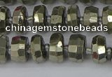 CRB597 15.5 inches 6*10mm faceted rondelle pyrite beads