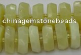 CRB609 15.5 inches 8*18mm faceted rondelle yellow opal beads