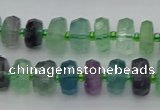 CRB615 15.5 inches 7*12mm faceted rondelle fluorite beads