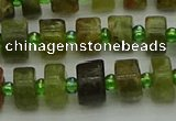 CRB664 15.5 inches 5*8mm tyre green garnet gemstone beads
