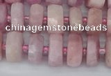 CRB826 15.5 inches 6*10mm faceted rondelle kunzite beads