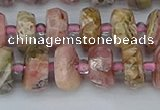 CRB834 15.5 inches 6*10mm faceted rondelle rhodochrosite beads