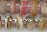CRB835 15.5 inches 7*12mm faceted rondelle rhodochrosite beads