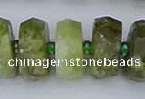 CRB854 15.5 inches 8*18mm faceted rondelle green garnet beads