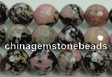 CRD15 15.5 inches 12mm faceted round rhodonite gemstone beads