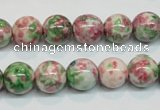 CRF25 15.5 inches 12mm round dyed rain flower stone beads wholesale