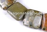 CRH06 different sizes square natural rhyolite beads Wholesale
