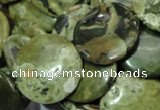 CRH38 15.5 inches 18mm flat round rhyolite beads wholesale