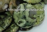 CRH39 15.5 inches 20mm flat round rhyolite beads wholesale