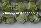 CRH538 15.5 inches 12mm faceted nuggets rhyolite gemstone beads
