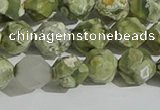 CRH555 15.5 inches 10mm faceted nuggets matte rhyolite gemstone beads