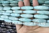 CRI110 15.5 inches 10*30mm faceted rice amazonite gemstone beads
