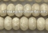 CRJ632 15.5 inches 4*6mm rondelle white fossil jasper beads wholeasle