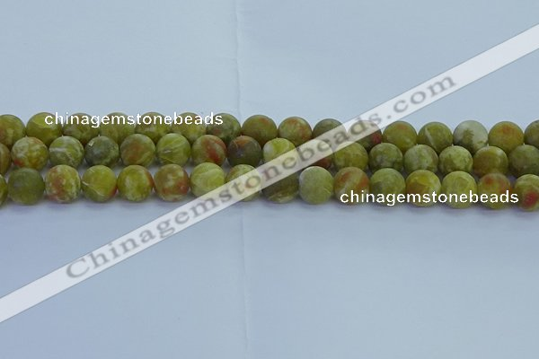 CRO1153 15.5 inches 10mm round matte green dragon serpentine jasper beads