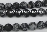 CRO130 15.5 inches 8mm round snowflake obsidian beads wholesale