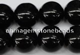 CRO482 15.5 inches 18mm round black agate beads wholesale