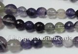CRO731 15.5 inches 6mm – 14mm faceted round fluorite gemstone beads