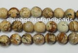 CRO762 15.5 inches 8mm faceted round picture jasper beads wholesale