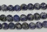 CRO772 15.5 inches 8mm faceted round blue spot stone beads wholesale