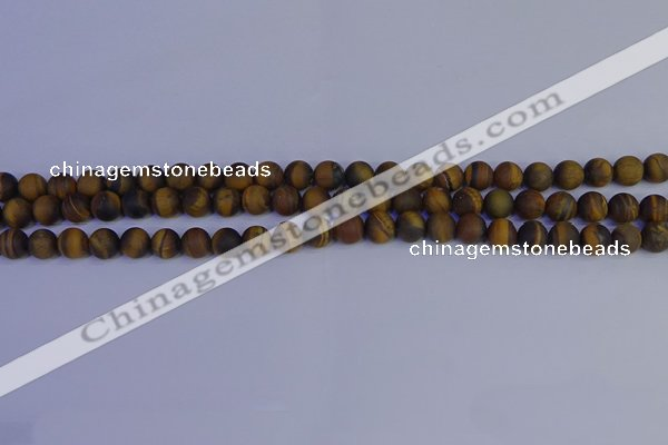 CRO961 15.5 inches 6mm round matte yellow tiger eye beads wholesale