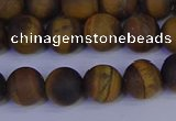 CRO963 15.5 inches 10mm round matte yellow tiger eye beads wholesale