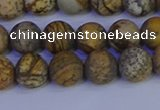 CRO972 15.5 inches 8mm round matte picture jasper beads wholesale