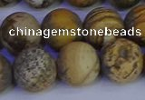 CRO975 15.5 inches 14mm round matte picture jasper beads wholesale